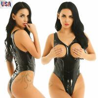 Womens One-piece Leather Catsuit Open Bust Zipper Crotch Teddy Bodysuit Lingerie