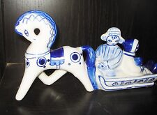 VINTAGE USSR  RUSSIA BLUE PORCELAIN HORSE FIGURINE BEAUTIFUL SLEIGH DESIGN