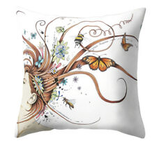 Cushion Pillow Cover Bees Butterfly In Your Hair Gardener Beach House Polyester