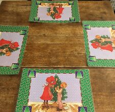 Vintage Holly Hobbie Vinyl Christmas Placemats Set Of 4 Double Sided