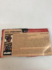Vintage GI Joe Hasbro Crankcase  File Card A.W.E. Striker Driver