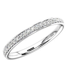 2.0mm Bead and Bright-Cut set Round Diamond Half Eternity Ring in 9K White Gold