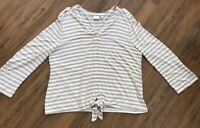 CHICOS Women's Beige White Stripe Button Top Blouse Tie Hem Soft Rayon Spandex 2