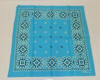 Vintage Aqua Turquoise Blue Fast Color All Cotton Bandana Handkerchief RN13960