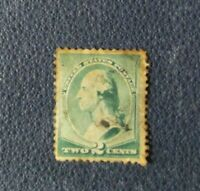 Y-3, Sello USA two cent Washington verde Stamp Estados Unidos usado
