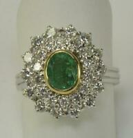 Smaragdring Ring mit Smaragd Emerald Brillanten 1,26 ct. aus 750 18 kt Gold 55