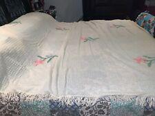 Vintage 1950's chenille bedspread Multi-color overlay w/bullion fringe FULL