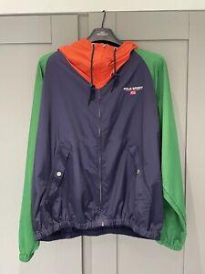 Ralph Lauren Polo Sport Hooded Top - Mens UK Size M Blue/Green/Orange