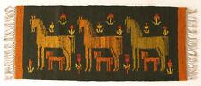 More details for mares / horses & foals modernist vintage textile wall hanging rug green & orange