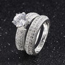 Fashion Size 9 Women 2 Pcs 18K Gold Filled Halo White Topaz Engagement Ring Sets