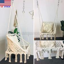 Macrame Hanging Chair Hammock Cotton Seat Rope Tassel Swing Home Outdoor Patio