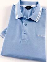 Ben Sherman Polo Shirt Men's Classic Fit Sky Blue Tipped Collar 0062867