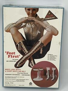 VTG 70's Bucilla Fashion Kit Knit or crochet Boot Socks Belt # 7770