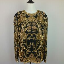 Vintage Black Tie Top Womens 12 Beaded Super Heavy Gold Black Silk