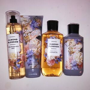 Set of 4 Bath & Body Works Lotion Wash Gel Fragrance Spray Mist Almond Blossom
