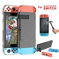 For Nintendo Switch Dockable Hard Thin Protection Case Cover+Tempered Glass Film
