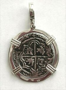 ATOCHA Coin Pendant 4 Reale Sterling Silver Frame Treasure Coin Jewelry