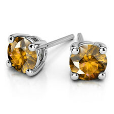 4.00 Ct Real Round Cut Solitaire Citrine Earrings 14K Solid White Gold Studs