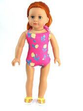 Hot Pink Floral  Bathing Suit Fits 18 inch American Girl Dolls