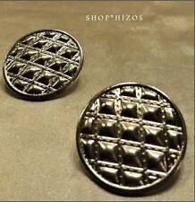 SILVER ROUND BUTTON QUILTED 3D CLIP ON EARRINGS NEW