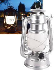 LED Sturm-Laterne Retro Stil Petroleum Stalllaterne Metall silber Outdoor Lampe