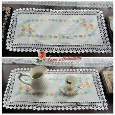 Beautiful Hand Crochet&Hand Embroidered Small Table Runner/Centerpiece~White~