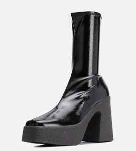 Punk Womens Square Toe Patent Leather Zip Ankle Boots Stretch Chunky Heel Zha19
