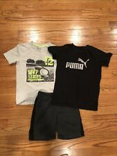 Boy (size Small 6/7) 2 t-shirts and shorts outfit, Puma/Gap tees
