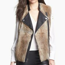 NWT NEW  $498 BCBG rabbit fur and leather vest coat sz S 4 6 8