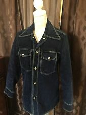 Blue Suede Jacket - Vintage From the 60's - Sz 38 - mid century
