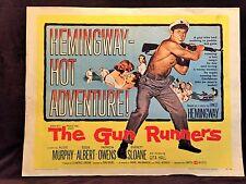 ORIGINAL 1958 THE GUN RUNNERS Half Sheet Movie Poster 22 x 28 Ernest Hemmingway