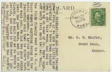 1914 Kingman Kansas M&K perfin - Missouri & Kansas Telephone Co