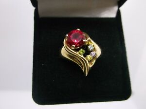 Vintage 14K Yellow Gold Ruby Ring w/Peridot/Amethyst/Citrine & Aquamarine