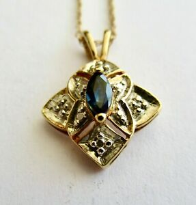 """Marquise Sapphire and Diamond Pendant on18"""""""" Gold Chain ~ 10kt"""