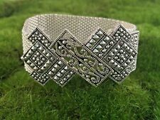 Bracelet Silver Tone Mesh and Marquasite Crystals Magnetic Fold Over Clasp B150