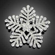 Ac012 Noble Shinning Wedding Christmas Snowflake Brooch Pin Rhinestone Crystal