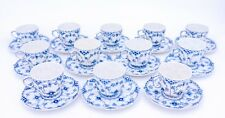 12 Cups & Saucers #1035 - Blue Fluted Royal Copenhagen Full Lace - 1:st Quality