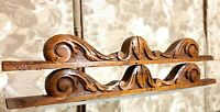 Pair scroll leaves wood carving pediment Antique french architectural salvage