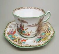 FENTON ABBEY ART DECO CLASSICAL PASTORAL SCENE OCTAGON CUP AND SAUCER C.1927