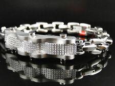 Mens White Diamond Bracelet Stainless Steel 316 Heavy Link Bracelet 1.25 Ct
