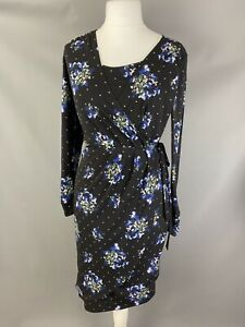 M&S Size 12 Black Wrap Dress Polka Dot Spotty Blue Pink Stretchy Long Sleeve