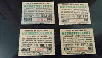 1947 Vintage Motorcycle Races Admission Ticket Stubs - lot of 4 of them WOW