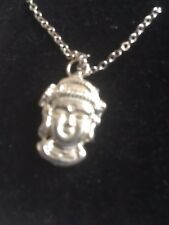 """Budha TG323A Made In  Fine English Pewter On 18"""" Silver Plated Curb Necklace"""