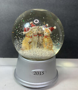 2015 Holiday Cats Musical Water Snow Globe Winter Scene Christmas Holiday Kitten