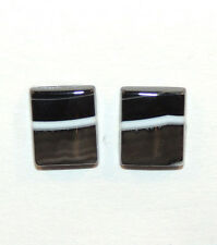 Black and White Agate 10x12mm with 3mm dome Cabochons Set of 2 (10628)