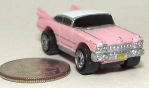 Small Micro Machine Plastic 1959 Cadillac Coupe in Pink with White Roof