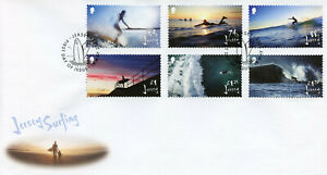 Jersey 2021 FDC Sports Stamps Surfing Landscapes Beaches 6v Set