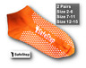 2 x Pairs No Slip Gripper Socks-Yoga Pilates Fitness Safety Antimicrobial ORANGE