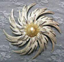 "VTG SARAH COVENTRY 3"" SWIRL SPIRAL FLOWER BROOCH PIN SILVER TONE w FAUX PEARL"