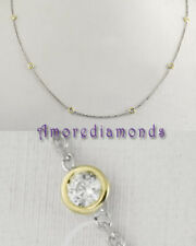 1.00 CT G SI2 ROUND DIAMONDS BY THE YARD NECKLACE 18K MULTI TONE GOLD 16""